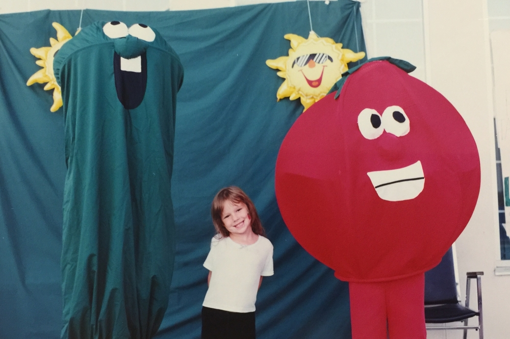 Larry the cucumber & Bob the tomato make an appearance at Veggie Tales Camps