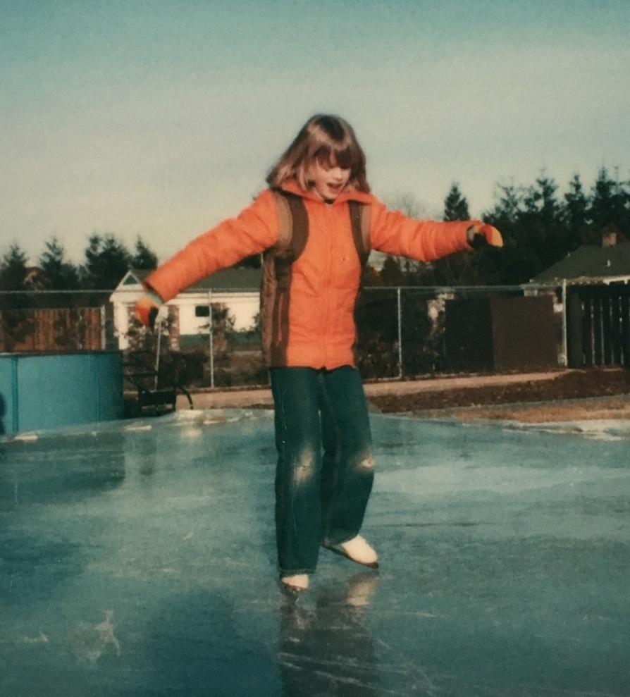 "Me as a kid. The one time it was cold enough in Richmond to make a backyard rink. I really couldn't skate and I always, always had ""holes in my knees."""