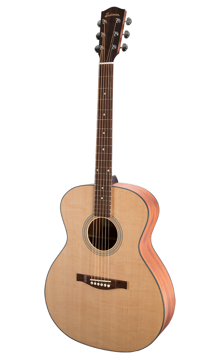 GRAND AUDITORIUM Eastman Grand Auditorium acoustics feature a warm, balanced tone, with sound projection suitable for ensemble playing. They perform well for fingerpicking, flat picking and accompaniment.