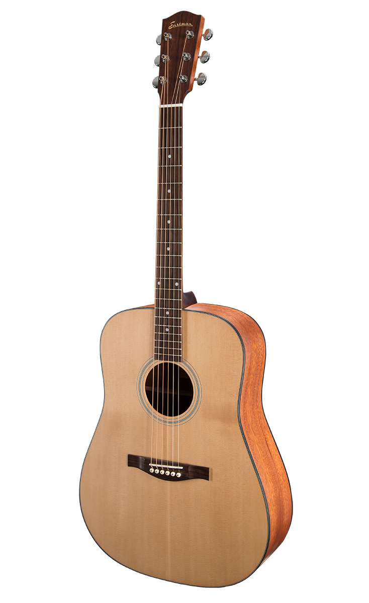 DREADNOUGHT With their large, full sound Eastman Dreadnought acoustics feature dynamics and volume to inspire fingerpickers and hard strummers alike. The perfect choice for accompanying solo performers.