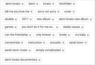 In this example, the creator posted a video of a Demi Lovato cover. In addition to keywords related to that video, they also included other Demi Lovato songs, words that might be searched about her new album and documentary, and their channel name.