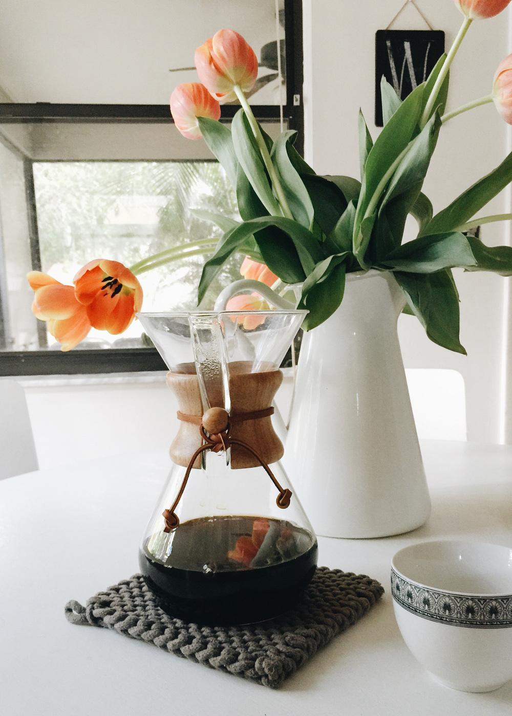 Chemex and tulips