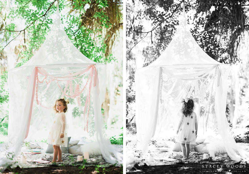 Outdoor kids photo session with tents and twinkly lights