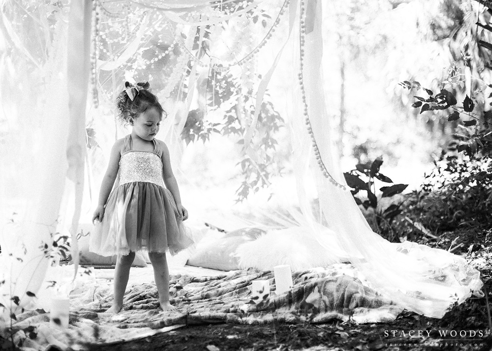 Photo session under a canopy with ribbons and lights || Stacey Woods, Florida child photographer