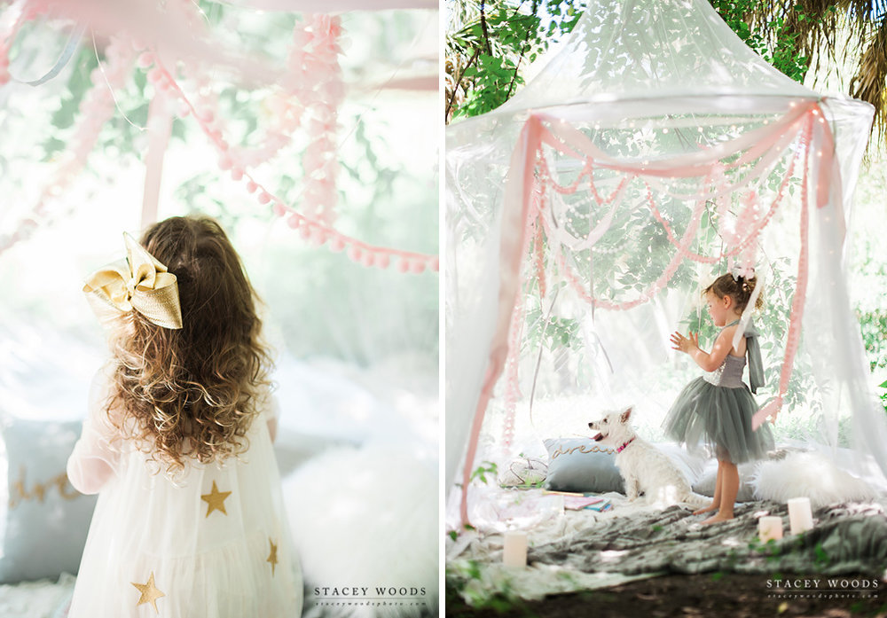 Lighted canopy photo session with ribbons and twinkle lights and little girls and puppies! || Stacey Woods, Florida children's photographer