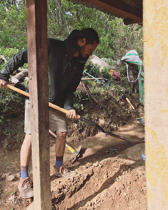 @miahidema Getting some trenches dug for cement blocks around Jose's home to keep out the rain. . . . #buildahome #panama #gofundme #fundraiser #mountain #hardwork #shovel