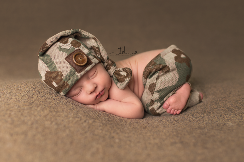 Baby boy in camo Heber Park City Utah Newborn Photographer