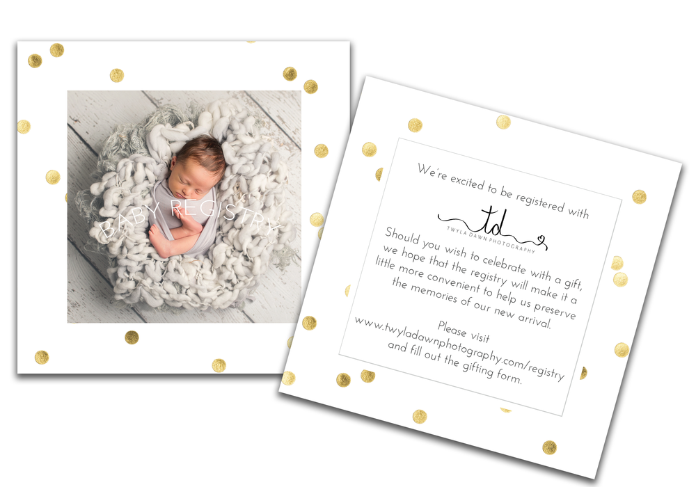 Registry cards to enclose with your invitations