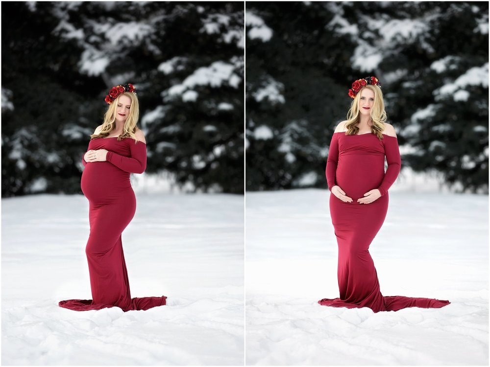 Utah Mountain Snow Maternity | Red Gown Session #twyladawnphotography