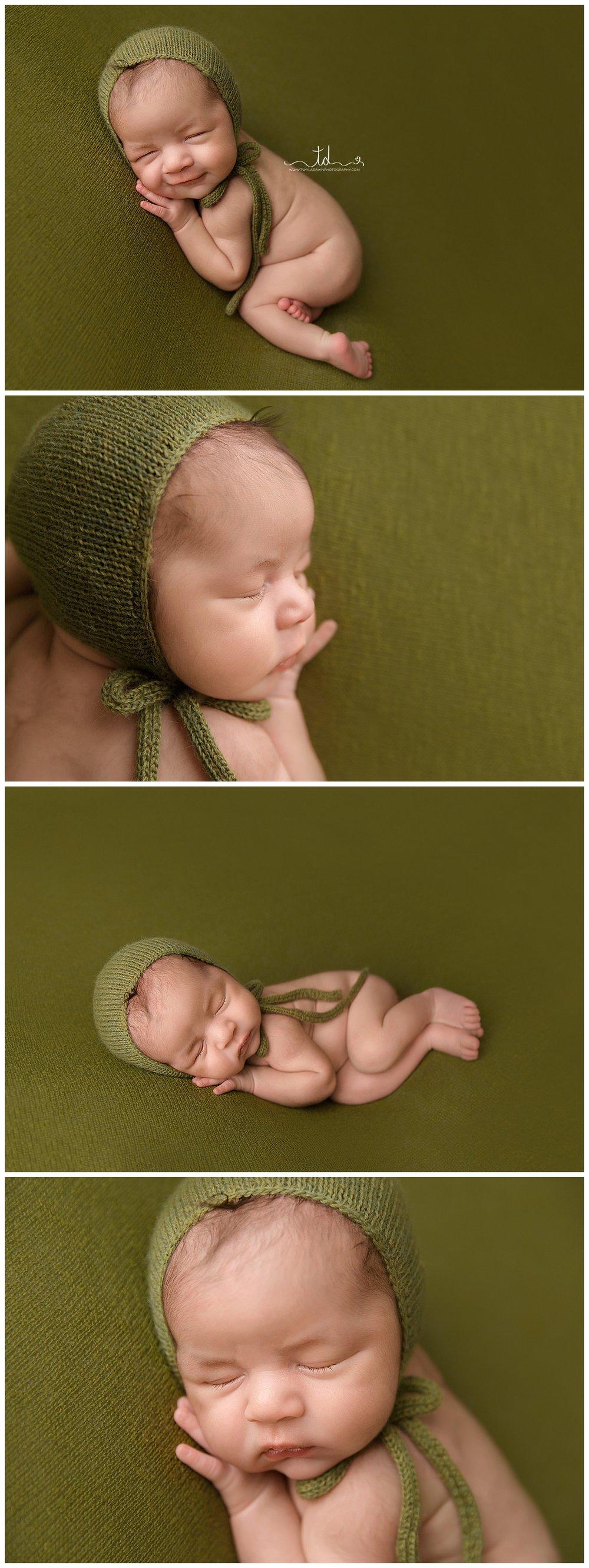 Newborn Boy in brown husk basket. Green and brown newborn photography | Salt Lake City newborn Photographer | Utah Newborn Photography | Twyla Dawn Photography