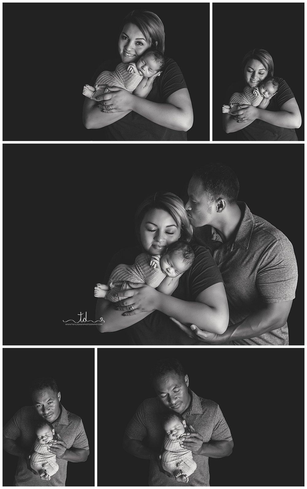 Black and White Parent with Newborn Portraits | Parents with Newborn Baby | Newborn posing with parents | Salt Lake City Newborn Photographer | Twyla Dawn Photography