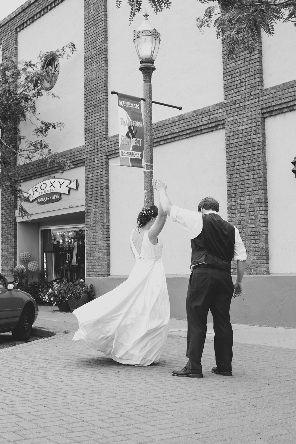 Tri Cities Wedding Photographer_Karis and Adrienne_Church wedding_ Downtown Kennewick 8_Bride and groom dancing