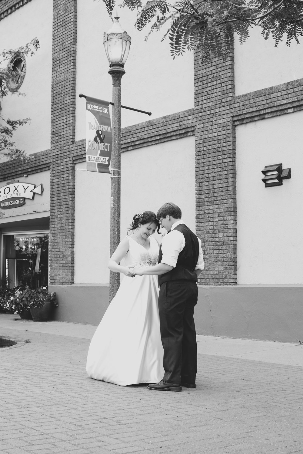 Tri Cities Wedding Photographer_Karis and Adrienne_Church wedding_ Downtown Kennewick 6_Bride and groom dancing
