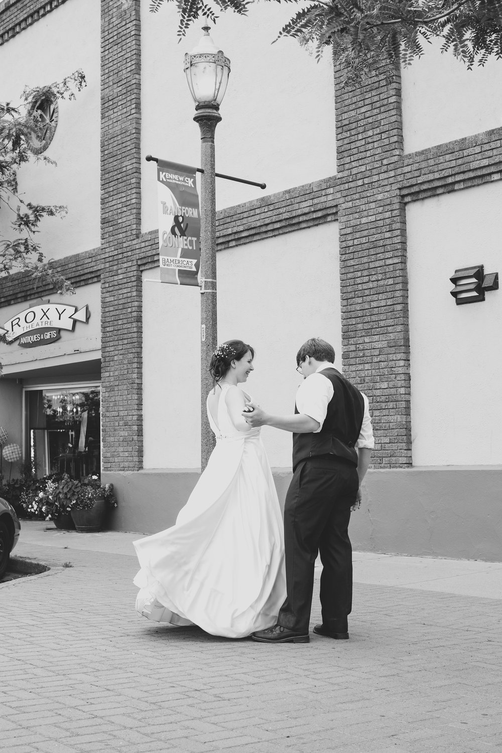 Tri Cities Wedding Photographer_Karis and Adrienne_Church wedding_ Downtown Kennewick 7_Bride and groom dancing
