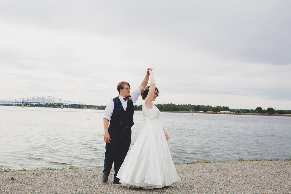 Tri Cities Wedding Photographer_Karis and Adrienne_Church wedding_ Downtown Kennewick 12_Clover Island_Bride and groom dancing