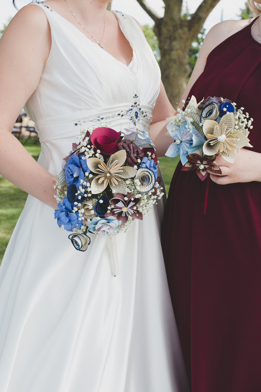 Tri Cities Wedding Photographer_Karis and Adrienne_Church wedding_Bridal Party 7 Paper flower bouquet