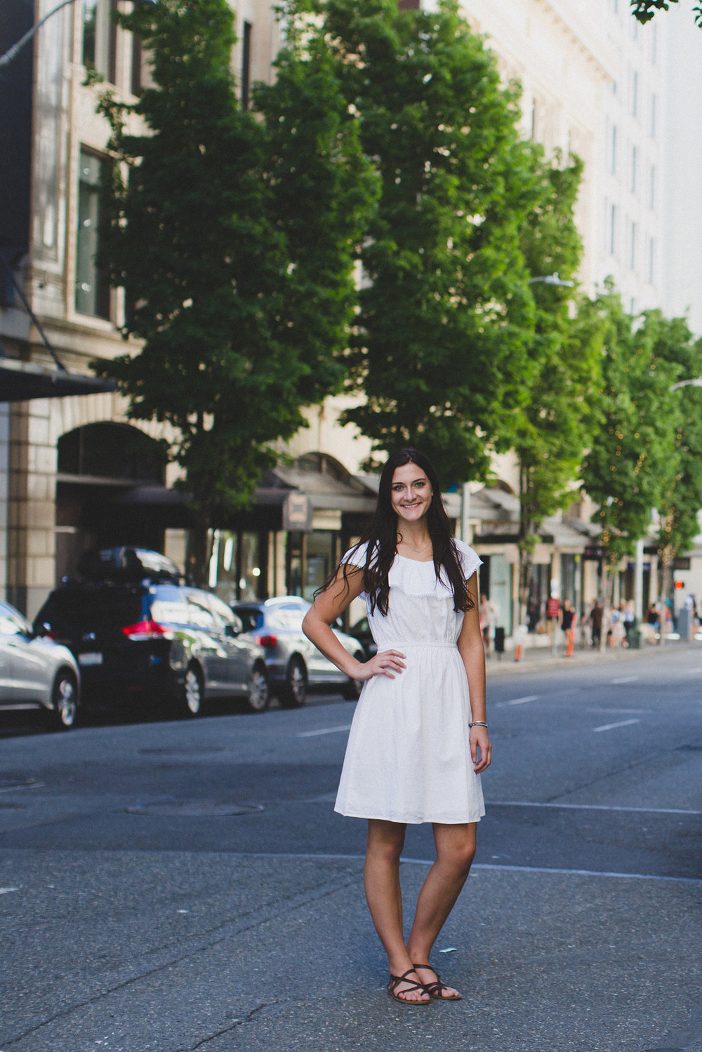 Tri Cities Senior Photographer_Seattle Senior session_Downtown Seattle_Aysha_White dress 34 City street