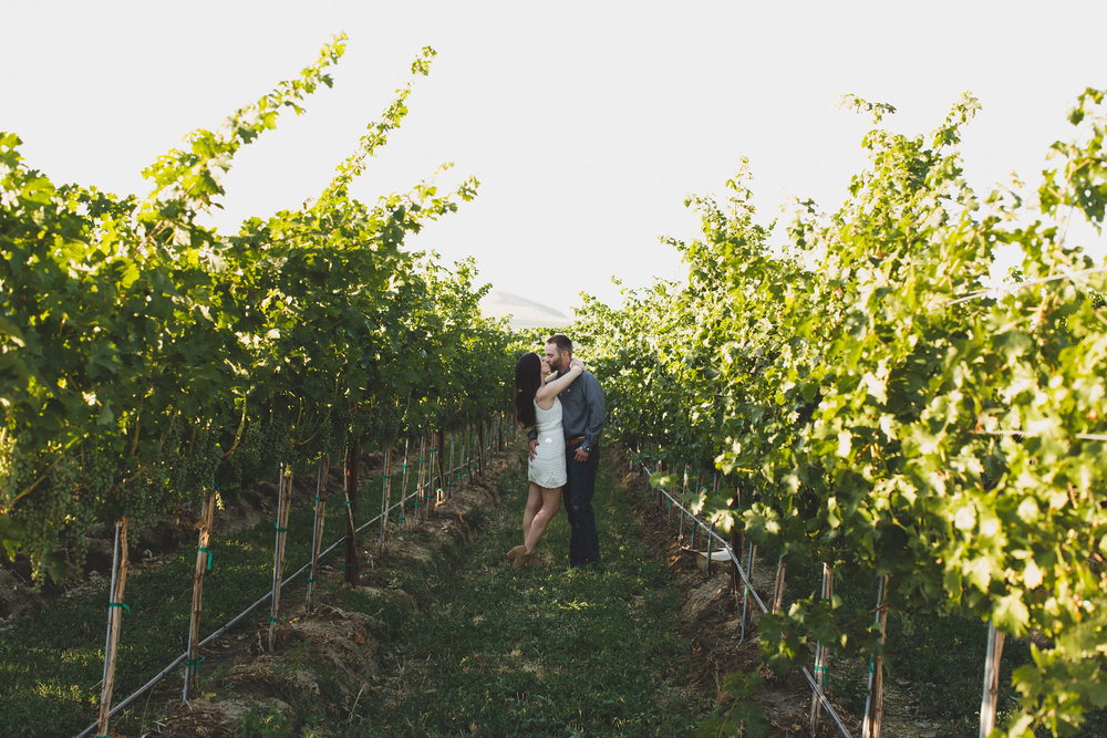 Tri Cities sunset engagement session_desert engagement_Vineyard engagement_Jordyn and Drew_Jordan Edens Photography_JEP_Grape vines_Kiss_8