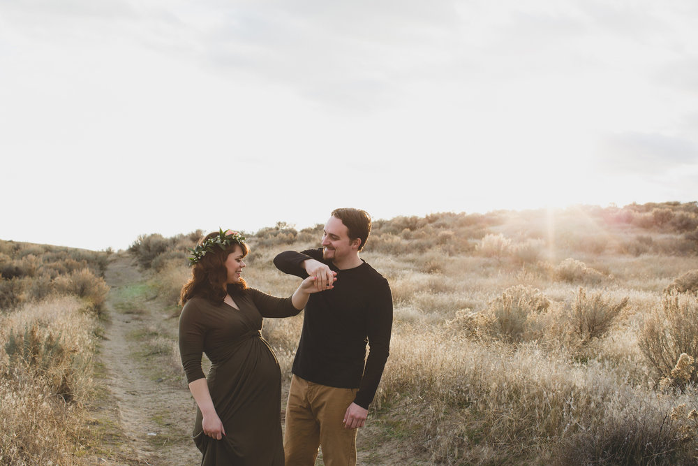Tri Cities Maternity photographer_tri cities maternity_richland photographer_kennewick photographer_maternity session_red mountain_mama to be_parents to be_tri cities family session_red mountain trails_sage brush_horse_desert session_sunset session_12