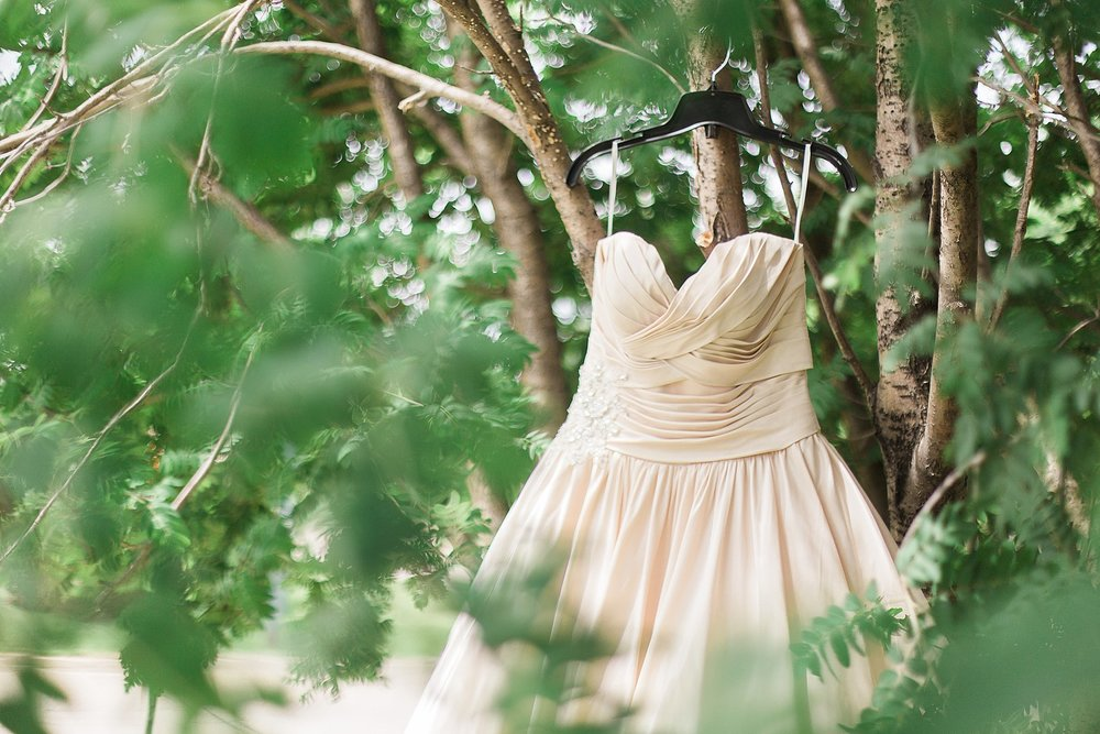 RCMP Wedding - Winnipeg Wedding Photographer - Wedding dress hung in a tree - Keila Marie Photography