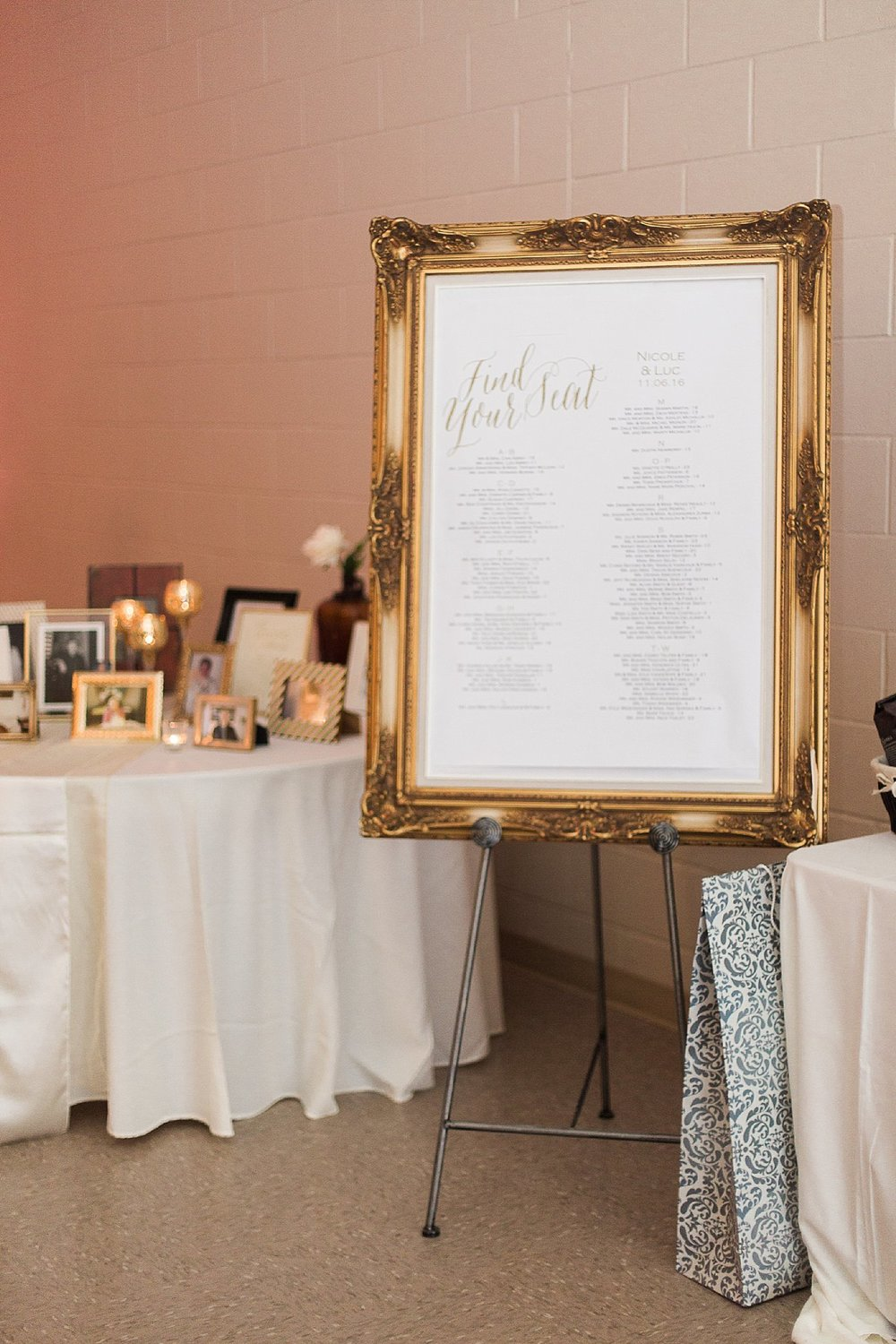 RCMP Wedding - Winnipeg Wedding Photographer - Gold and blush reception details - Keila Marie Photography