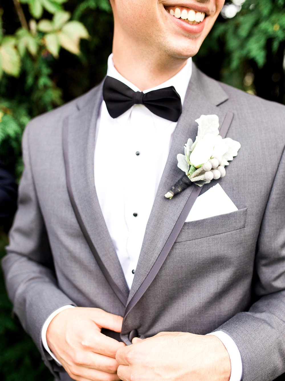 Groom Style in a grey suit | photographed by Toronto Ontario Wedding Photographer Keila Marie Photography