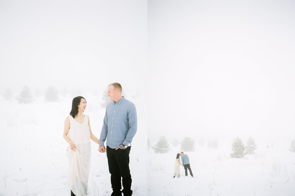 Couples photoshoot in winter | photographed by fine art film photographer Keila Marie Photography based in Winnipeg Manitoba
