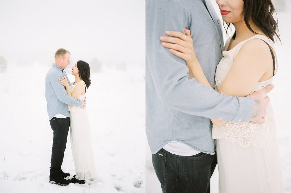 Blush dress engagement session outfit ideas | winter couples session | fine art film photographer Keila Marie Photography based in Winnipeg Manitoba Canada