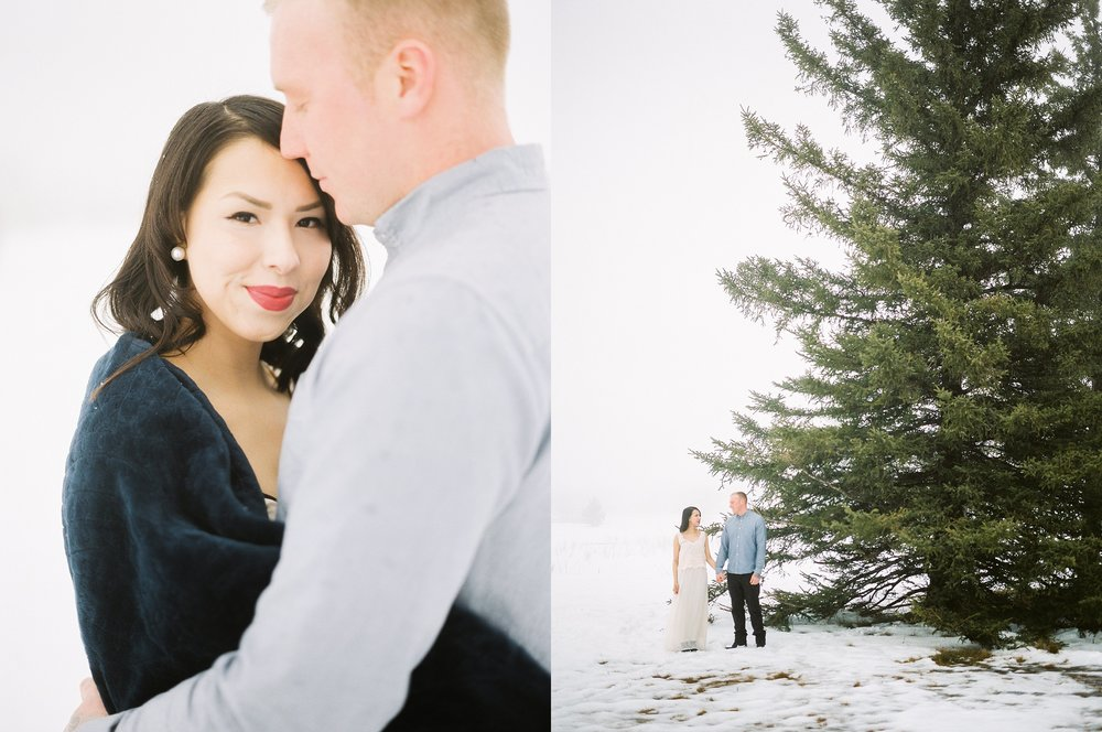 Romantic Winter Engagement Session | photographed by fine art film photographer Keila Marie Photography