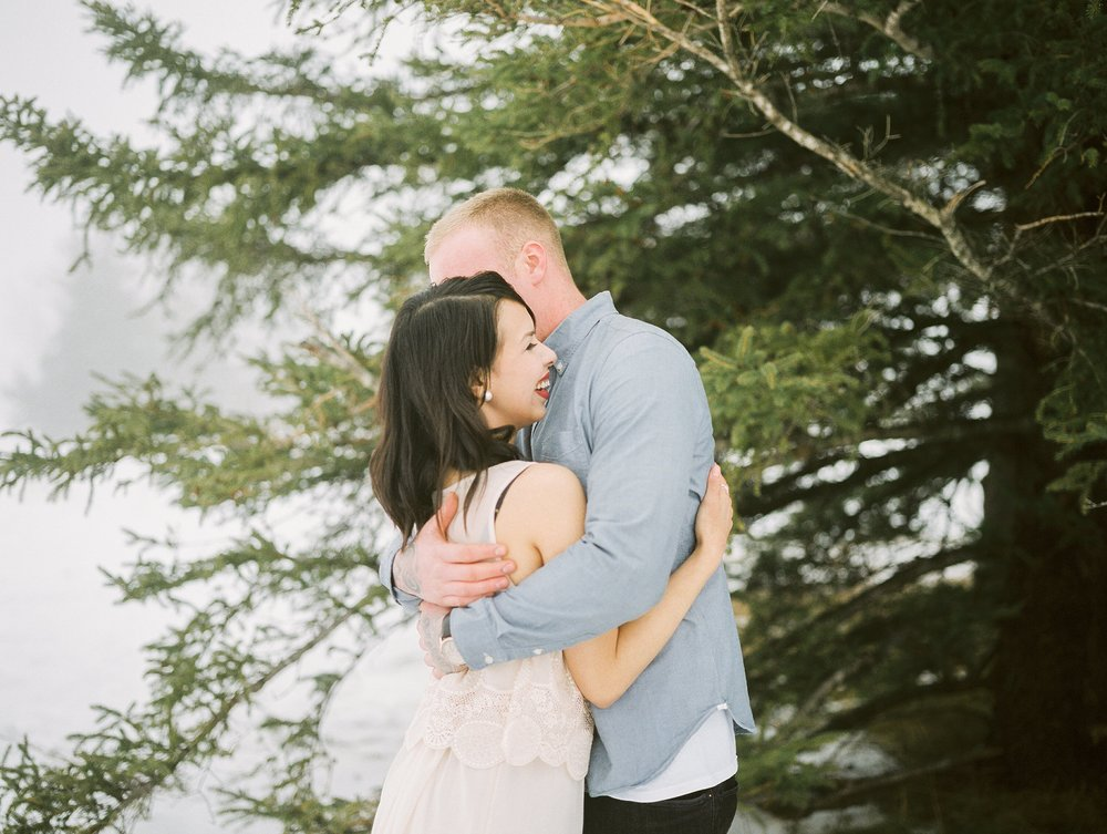 Romantic Winter Engagement Session | couples session pose ideas | photographed by fine art film photographer Keila Marie Photography