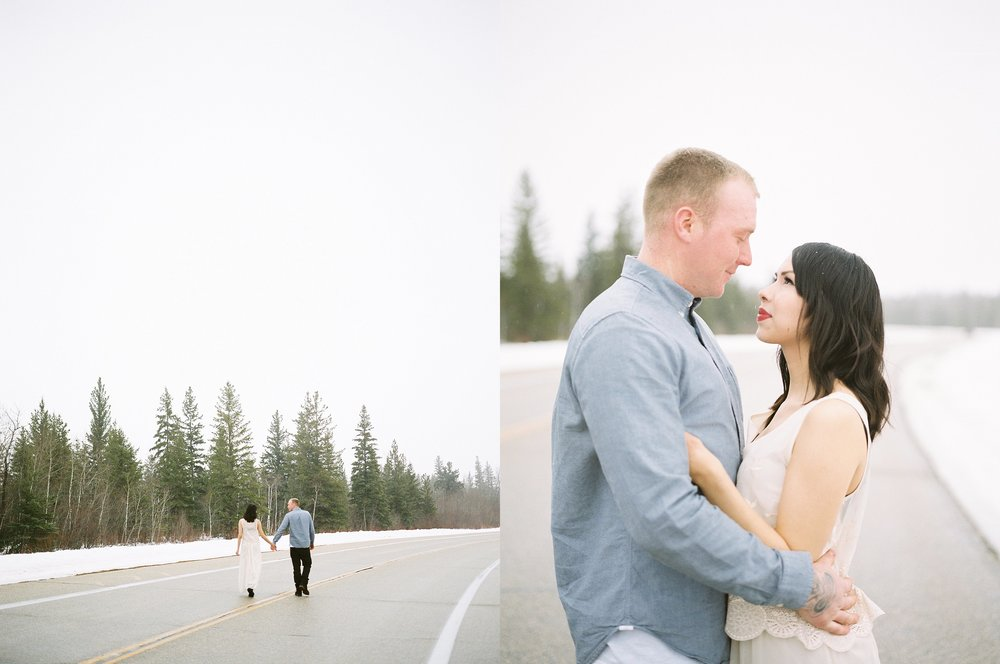 Canadian film photographer | Winter engagement session | fine art film wedding photographer Keila Marie Photography
