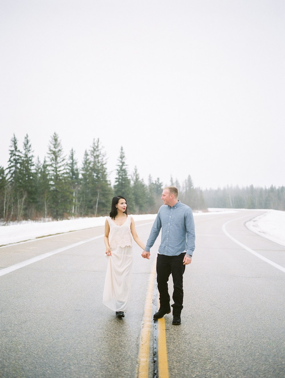 Blush dress engagement session outfit ideas | Couples with tattoos | Manitoba photographer Keila Marie Photography