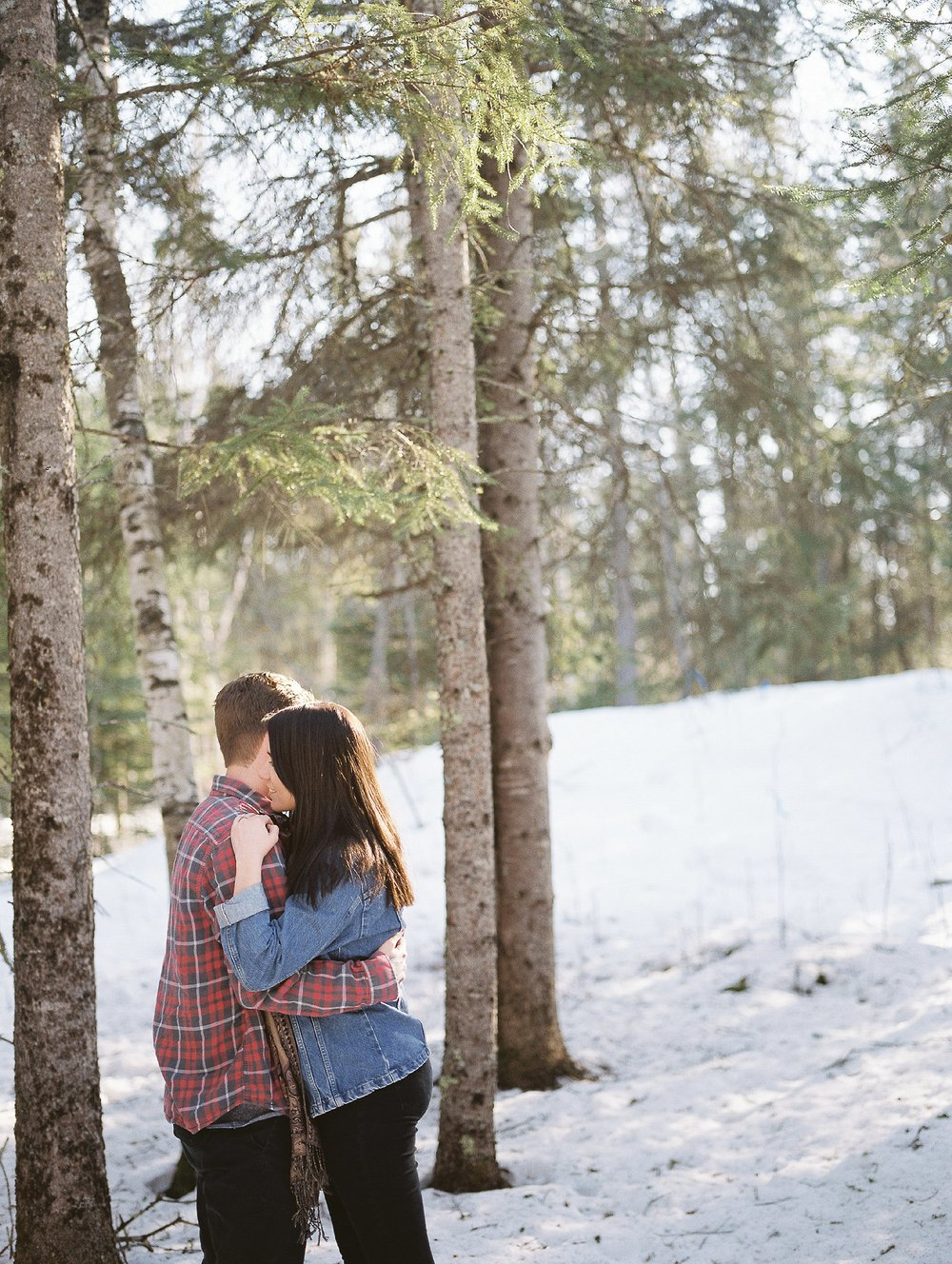 Forest engagement session | Winter couples photoshoot | photographed by film photographer Keila Marie Photography