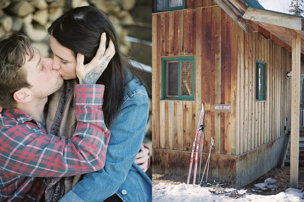 Cabin engagement session | Canadian film photographer Keila Marie Photography | Engagement Session pose inspiration