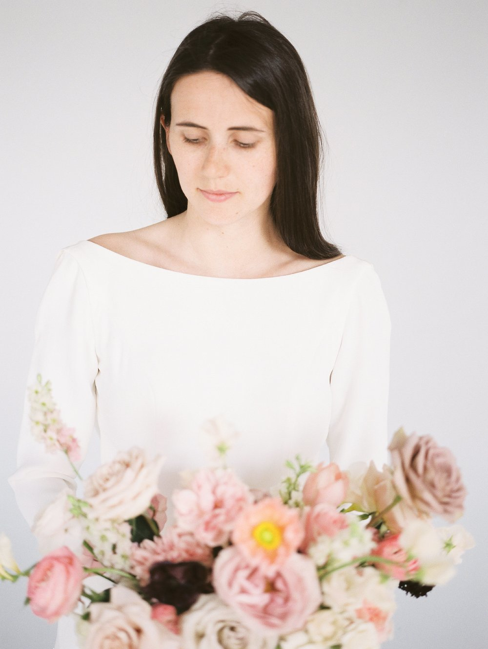 Academy Florist Styled Shoot | Bridal Portraits with bouquet | photographed by Film photographer Keila Marie Photography