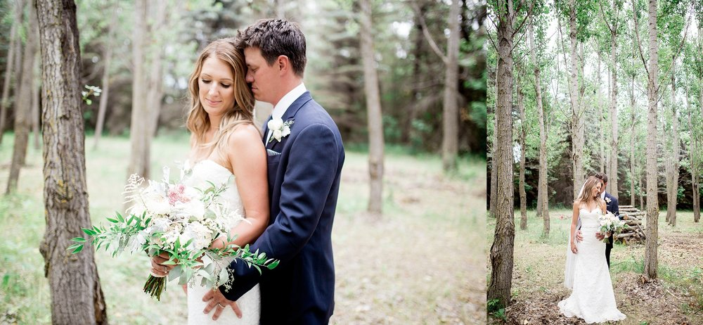 Winnipeg wedding photographer | Keila Marie Photography | Bride and groom portraits in a forest | Garden inspired wedding