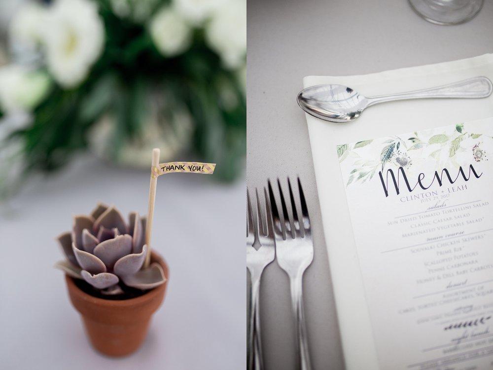 Greenhouse wedding reception | Succulent wedding favours | Cute wedding favour ideas | Keila Marie Photography | Winnipeg Wedding Photographer