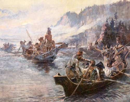 """Lewis and clark-expedition"" by Charles Marion Russell - originally uploaded on en.wikipedia by en:User:AlexPlank at en:Image:Lewisclarkrussell.jpg. Filename was Lewis and clark-expedition.jpg. Licensed under Public domain via Wikimedia Commons"