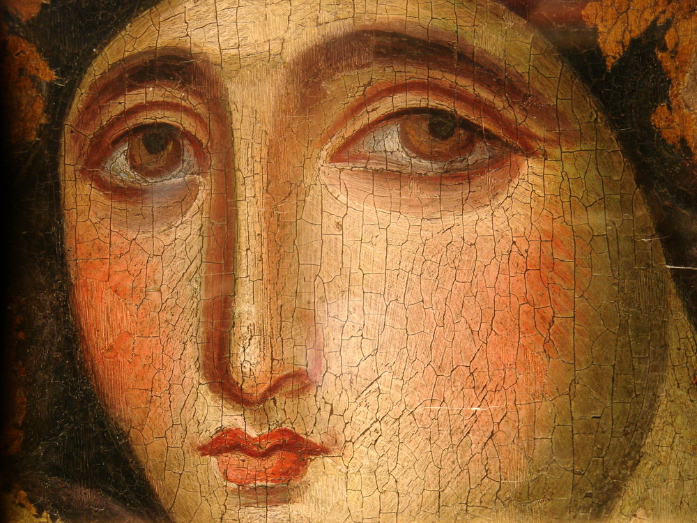 This Icon is on the front cover of the Vocal Score of the MAGNIFICAT (2014). The Advocata Nostra, the oldest icon of Mary in Rome, at the Dominican Sisters Convent on Via Trionfale on Monte Mario. This icon can be traced back to its origin in Jerusalem, where tradition has it that it was painted by St Luke after the Resurrection, at the request of the apostles. But the tradition also states that after St Luke had sketched the outline, the image of Our Lady appeared on it. No human hand was involved. Such works are referred to as achiropita—'made without hands'. The Apocryphal nature of this story fits quite well with some of the themes of the  Magnificat .
