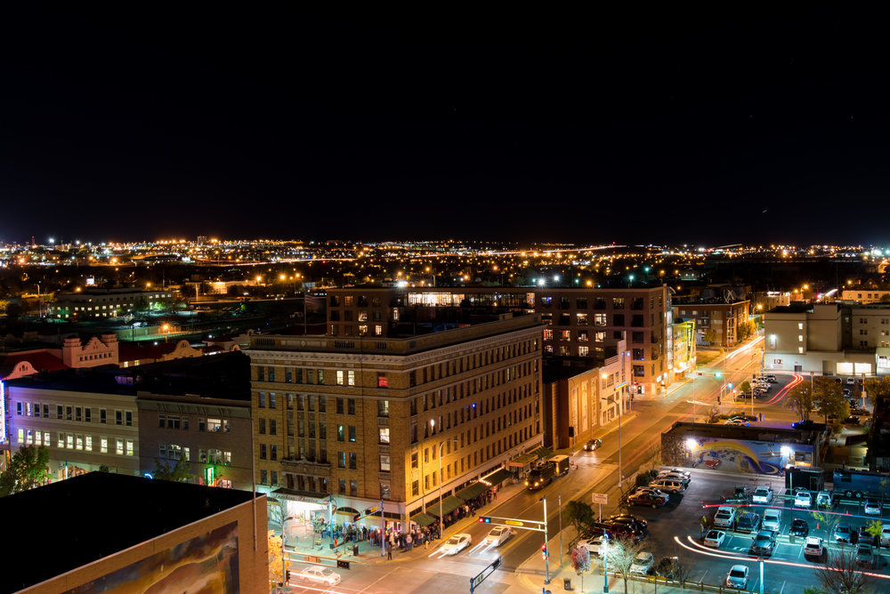 Night time in Albuquerque from the top of the Andaluz