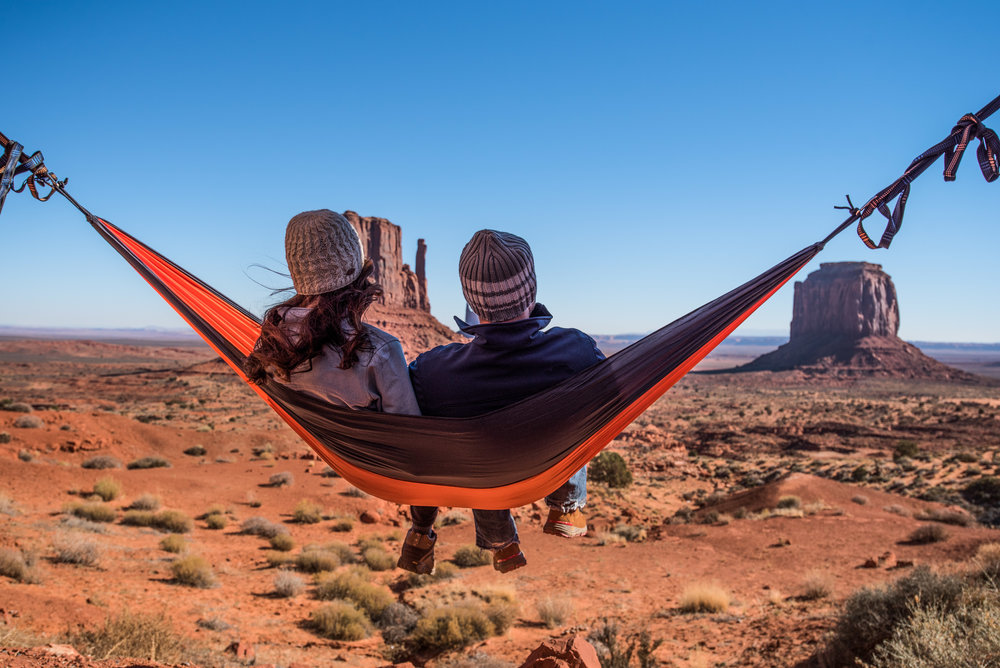 Hanging around in our Mad MTN Hammock after the hike.