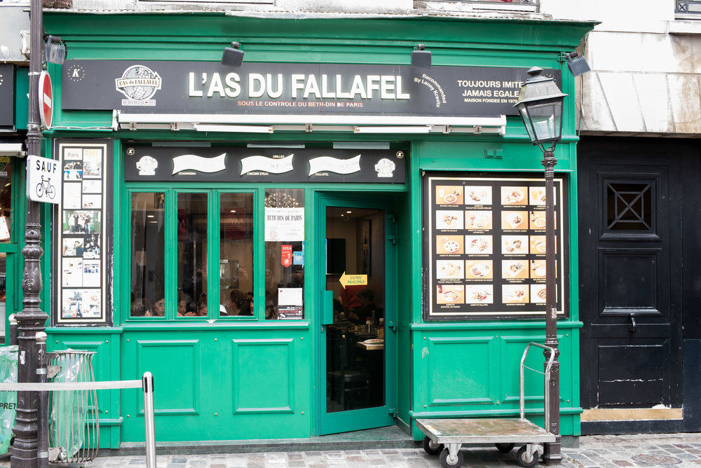 L'as Du Fallafel. This place always has a line...except in this picture, for some reason.