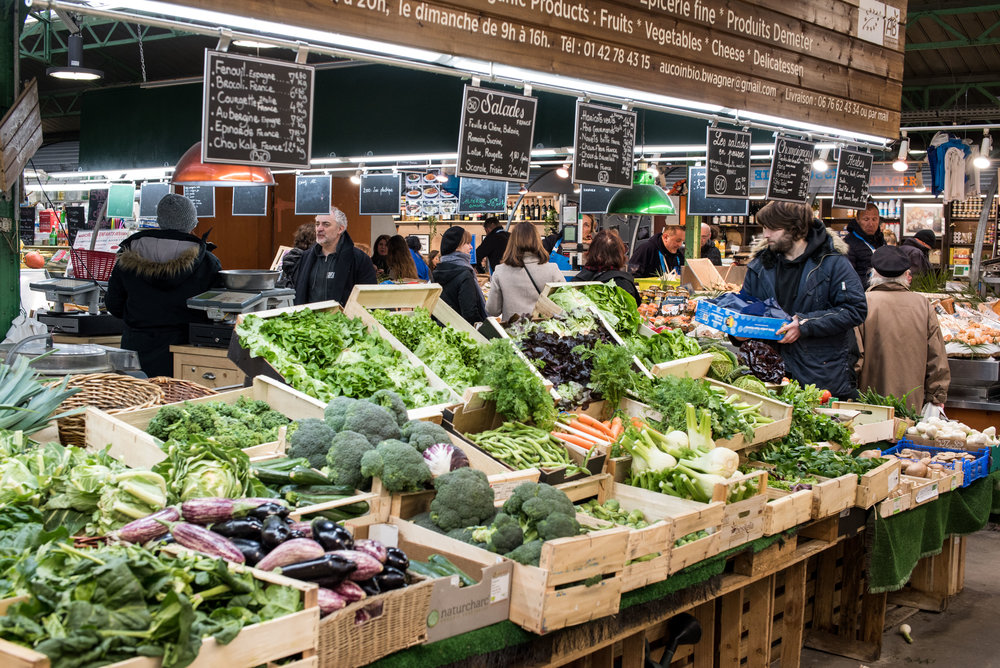 The markets in and around Paris were filled with fresh produce.