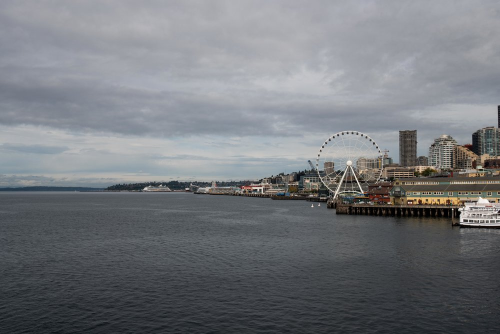 The view of Seattle from the ferry.