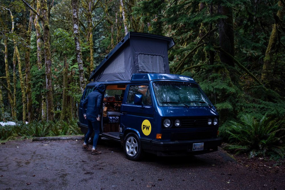 It poured the first night, making for a rough intro to van-life. But the weather was perfect the rest of the way.