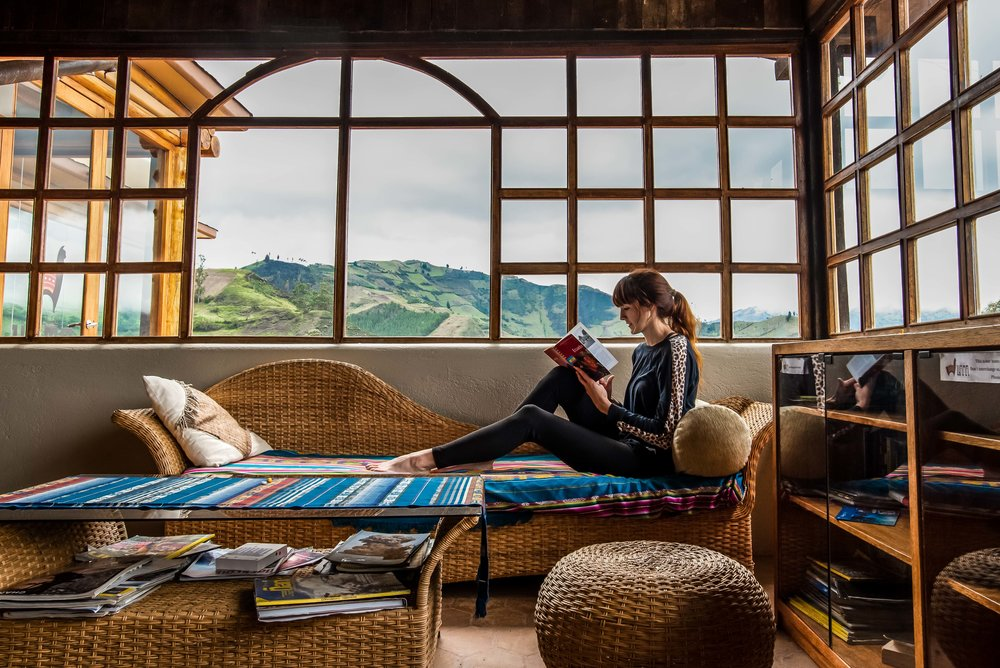 Relax with a book at  Llullu Llama .