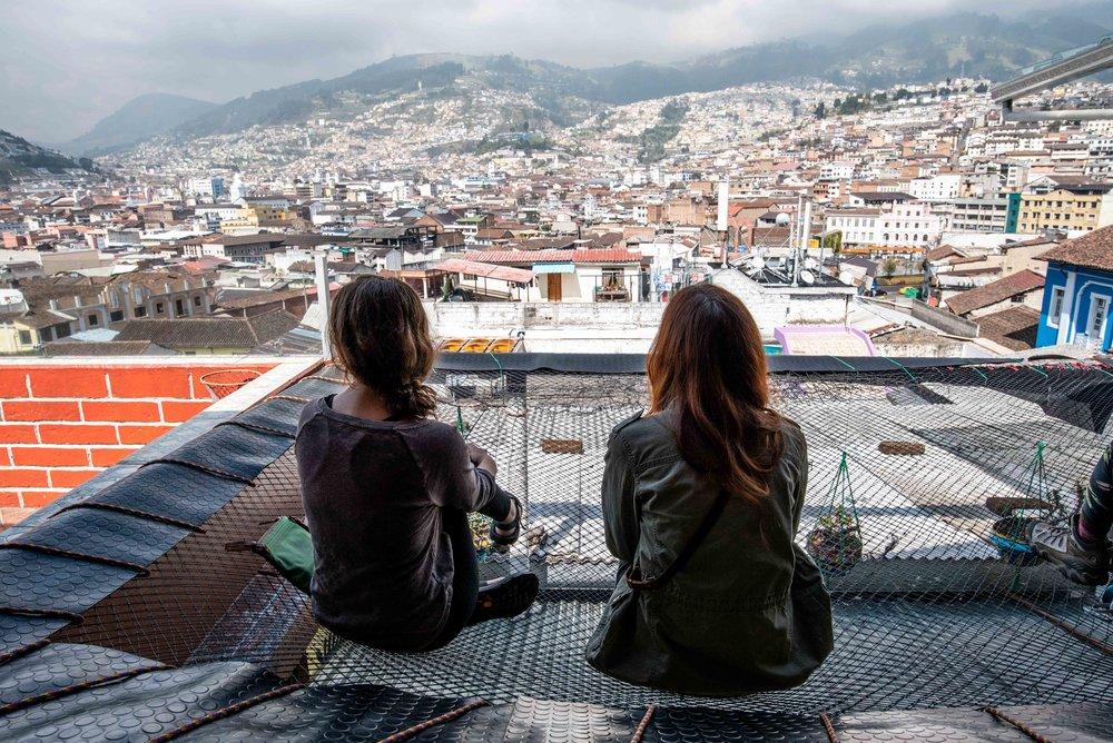 Secret Garden Hostel had a huge hammock overlooking Quito.