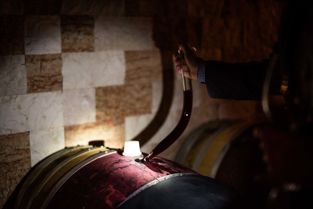 The wine thief retrieving our tastings from the barrel.