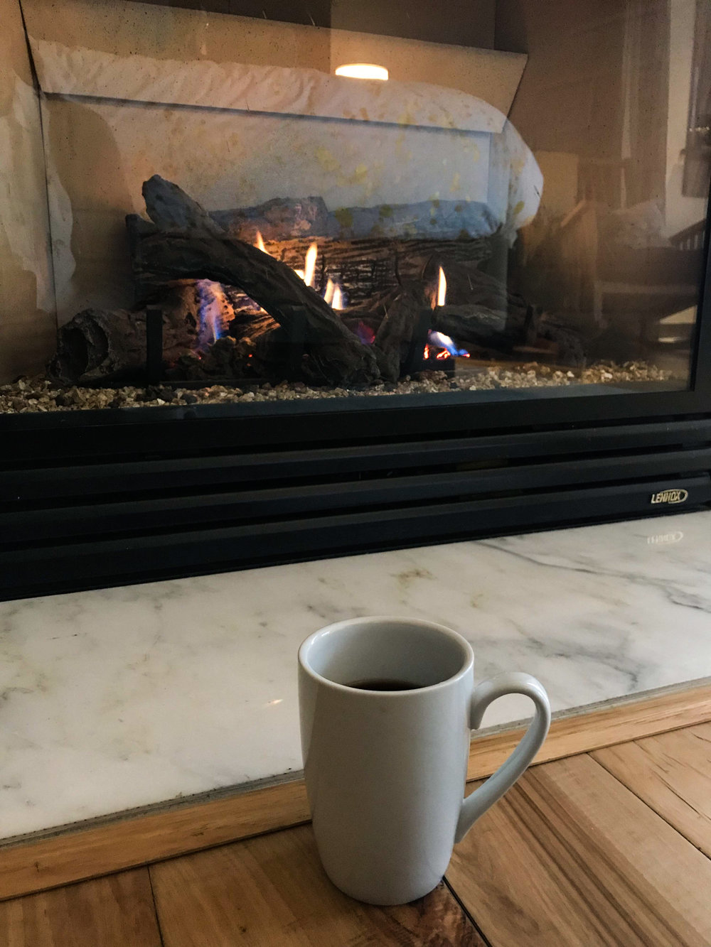 It was nice to wake up every morning to coffee and a fireplace in the bedroom.