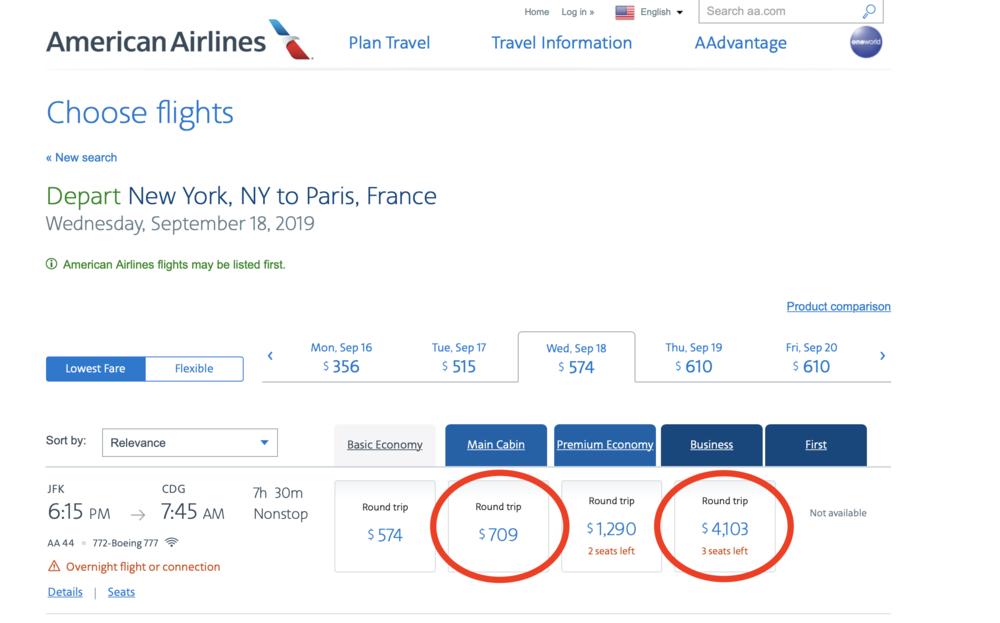 New York to Paris Prices
